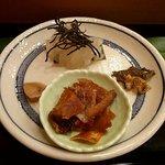 10563957 - カレイの昆布〆、皮ピリ辛焼、骨、肝