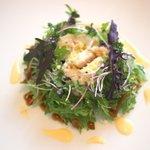 105636013 - ランチ前菜: 大麦、グリンピース、鶏ささみ チーズのソースとバルサミコ酢