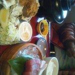 10564871 - 刺身とカキフライの定食
