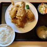 とりかん - から揚げ定食(四つ切)