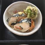 105680759 - ふきのとうの天ぷらと、鳥(だと思うのですが)でタラコを巻いた揚げ物