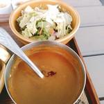 カキノキテラス - 共通のカレーソースには具材はなく、どろどろ。お出汁は日高昆布の一番出汁とのこと。