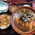 鶏の伊藤 - 醤油カツラーメン&鶏めし丼
