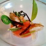 イル ギオットーネ - ホタテ、トマトフォンデュ、山菜
