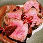 aoni - 奈義牛イチボ肉のステーキ 小豆とパルミジャーノのソース