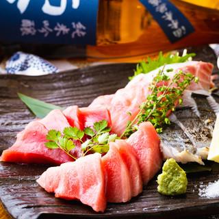 九州直送の生本鮪と離島の鮮魚5点盛り