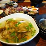 小野の離れ - 『天然産真鯛・蛤・糸島大根のポトフ』+200円。