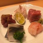 小松 弥助 - 甘えび、こはだ、中とろ、漬け、真鯛のお造り