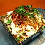 姜家 - 料理写真:カンチプ3大メニューのひとつ【チリトリ鍋】!プリプリの新鮮ホルモンとたっぷりのお野菜でお召し上がり下さい!!