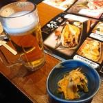 北の味紀行と地酒 北海道 - 生ビールとお通し