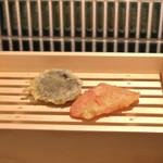 天ぷら酒場KITSUNE - 紅しょうが、しいたけ