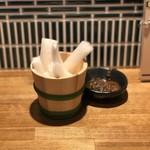 天ぷら酒場KITSUNE - お通し(無限大根)