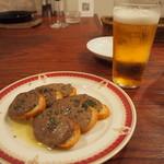 京都ダイナー - 鶏レバーパテのブルスケッタ & 生ビール