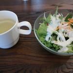 meat&wine BACCHUS - セットのスープとサラダ