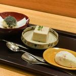 日本料理 太月 - よもぎ揚げまん、いちごババロア、さくらアイス