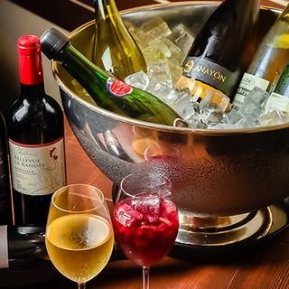 居酒屋定番のお酒から本格フランスワインまで豊富なラインナップ