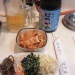 10589426 - 生ビール、はつかのオリジナル焼酎(芋)、キムチ、ナムル