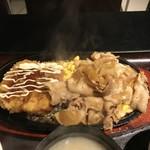炭火居酒屋 山崎 金沢直送鮮魚&石川の地酒 - しょうが焼きとハムカツ