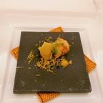 モン・フレーブ - 鴨肉の生ハムとフォアグラテリーヌ もち姫のクレープ ミモレットと柑橘胡椒