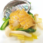 雪園 - 活アワビと季節野菜の炒め