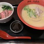 神戸牛らーめん 八坐和 - Yセット(神戸牛ラーメン+レアステーキ丼)