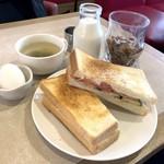 ルノアール - モーニング(ツナトースト、玉子、スープ)+200円