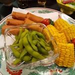 松乃寿し - 春巻き、枝豆、トウモロコシ