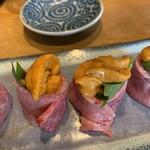 Kanemasu - 生うにの牛肉巻き アップ 1