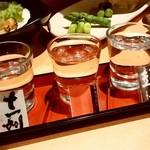 とれたて北海道 - とれたて北海道@札幌駅前店 地酒飲み比べ(972円)