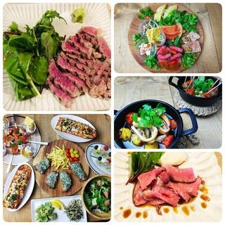 塩麹でマリネ、低温で調理した旨みたっぷりのステーキと各種料理