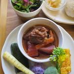 タンジョウ ファーム キッチン - 旬の野菜グリル、かずさ和牛のボルシチ風