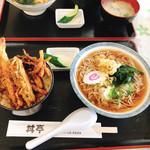 丼亭 - ミニ天丼200円➕たぬき蕎麦270円 のセット  470円!