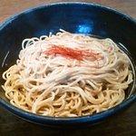 和風つけ麺 轍 - オーガニック全粒粉の麺(写りが悪くてスミマセン)