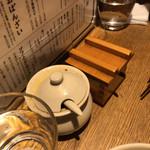 ぎょうざ処 高辻 亮昌 - (左)自家製ラー油、(右)七味