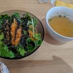 106126156 - パスタのサラダとスープ