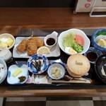 お食事処のどか - 料理写真:店主のきまぐれ(甘酒・メイン(この日は鮪串カツ)・お刺身・小鉢・茶碗蒸し・ご飯・お漬物・お汁・デザートの計9品)  これにサービスで珈琲が付きました