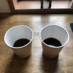 ケヤキコーヒー - コスタリカ(左)とグァテマラ(右)を試飲させていただきました。