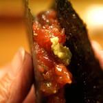 味感 ことほぎ - 鮪と奈良漬 青混ぜ海苔で巻いて