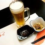 あば - あば@弘前 生ビールとお通し(大鰐もやし)