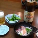 106146791 - 得々セット(一品料理とお寿司到着待ち)