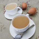 コーヒー&鉄板お好み焼き 福ちゃん - 「カフェオレ (380円)」「ミルクコーヒー (380円)」