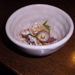 会津 - 先付け(蛸の吸盤と長芋、茗荷、しその和え物)
