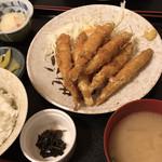 柳ばし - 料理写真:チカフライ定食(ごはん みそ汁 漬物 ポテサラ付) + なんばん佃煮