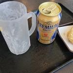 ゆで太郎 - 缶ビール、とり天
