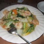 中国料理 なすの華 - 塩味の海老焼きそば、旨いですね。