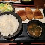 奥美濃古地鶏 ZENNO - アジフライ、野菜コロッケ、メンチカツの日替り定食 750円