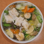 鳳林 - 黒板メニュー えびワンタン麺 大盛 ※ウーロン麺を選択