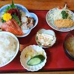 話食処しん - 料理写真:厳選刺身四点盛り合わせと特製カニクリームコロッケ1290円