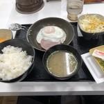 吉野家 - ハムエッグ納豆定食+生玉子