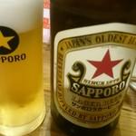 天ぷらスタンド KITSUNE - 瓶ビールは『サッポロラガー』です。